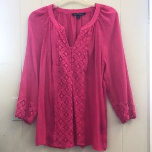 Zack & Rachel Pink women's blouse with lace front